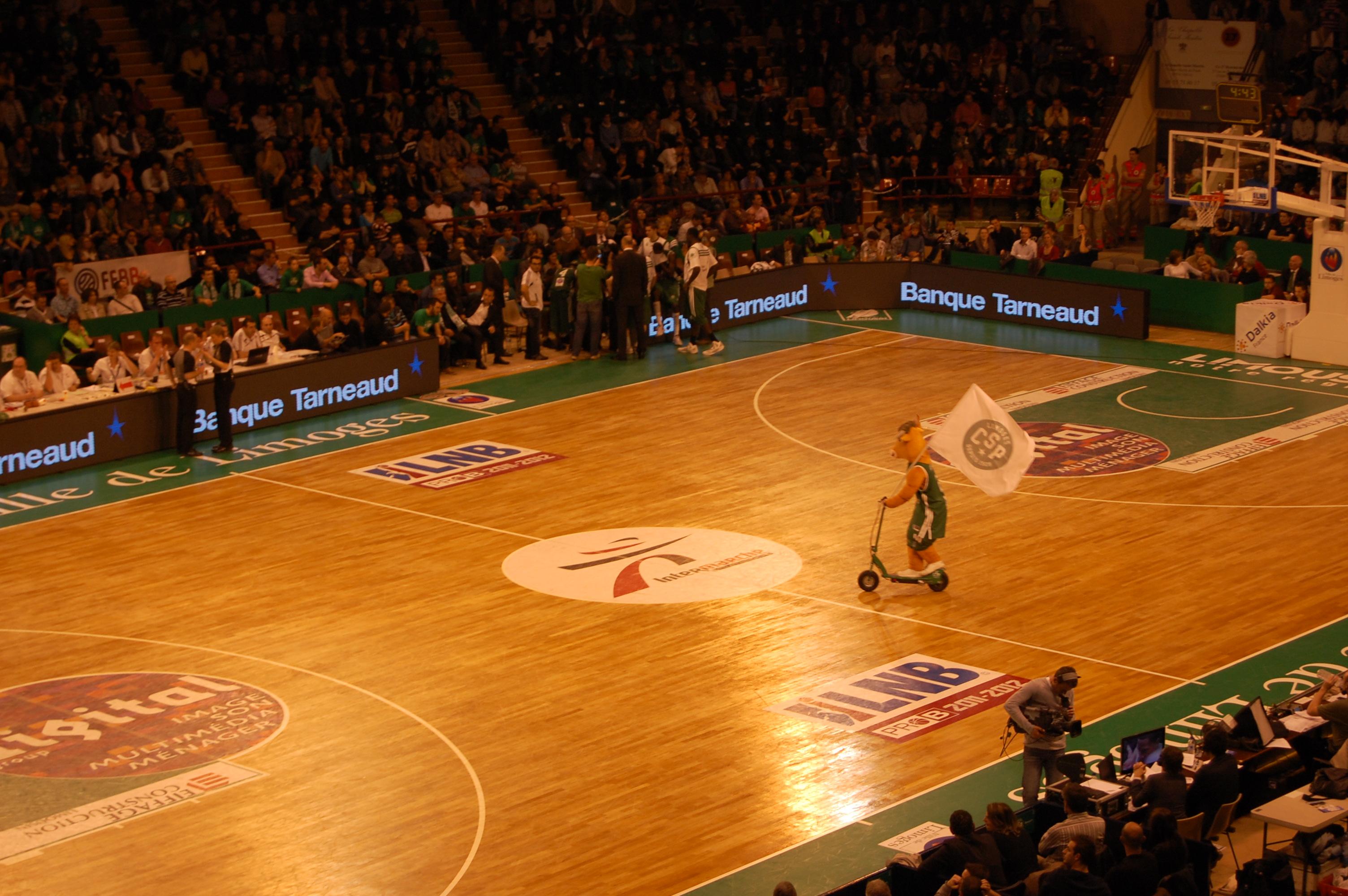 Optisch ist das dunkelbraun-grüne Parkett eine Herausforderung, eine Kuh als Maskottchen hat Limoges wohl exklusiv. Quelle: wikimedia commons; user Fonqebure, own work; under CC license CC BY-SA 3.0